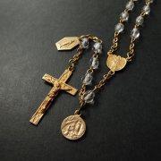 ヴィンテージ ロザリオ クリアカットビーズ  ゴールド 不思議のメダイとルルドの聖母のメダイ付き