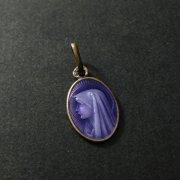 聖母マリアのパープルエナメルアンティークメダイ シルバー ゴールド