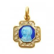 ルルドの聖母マリア ゴールド ブルーエナメル メダイ ヴィンテージ デッドストック