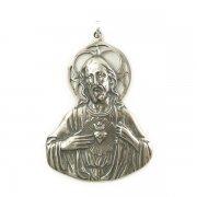 聖心を指すイエス・キリスト メダイ ペンダント  シルバー