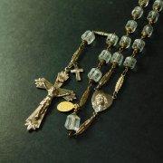 ヴィンテージ ロザリオ クリアカットビーズ  キリストと聖母のセンターメダイ