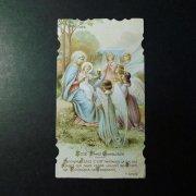 アンティーク ホーリーカード  聖母子と天使たち