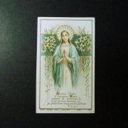 アンティーク ホーリーカード  聖母子と百合の花