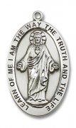 キリストの聖心とカルメル山の聖母 メダイ XL スターリングシルバー製 ペンダント 【受注発注】