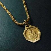 聖母子  アンティークメダイ ゴールド ネックレス付き