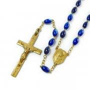 ヴィンテージ ロザリオ ルルドの聖母マリアセンターメダイ  ゴールド&ブルービーズ  <デッドストック>