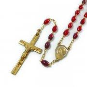 ヴィンテージ ロザリオ ルルドの聖母マリアセンターメダイ  ゴールド&レッドビーズ  <デッドストック>