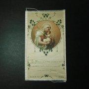 アンティーク ホーリーカード  聖母子とクローバー 布製