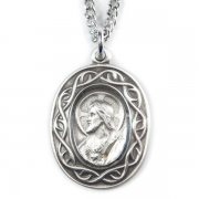 キリストのメダイ 茨の冠 ペンダント ネックレス  シルバー製 チェーン&箱付き