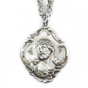 イエス・キリストのメダイ バロック ペンダント ネックレス  シルバー製 チェーン&箱付き