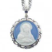 聖母子のメダイ ライトブルーカメオ ペンダント ネックレス  シルバー製 チェーン&箱付き