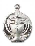初聖体拝領 聖杯 十字架 メダイ スターリングシルバー製 ペンダント 【受注発注】