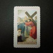 アンティーク ホーリーカード  キリスト 十字架の道行き 第4留