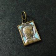 ルルドの聖母 スクエア 水色エナメル アンティーク メダイ