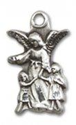 子供を見守る守護天使 メダイ S/M スターリングシルバー製 ペンダント 【受注発注】