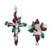 ポインセチアと聖母子 クリスマスカラーエナメル  センターメダイとクロスのロザリオアクセサリーパーツセット
