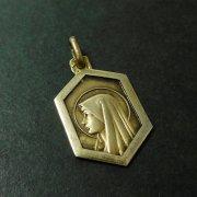 聖母マリア 6角形 ゴールドメッキ アンティーク メダイ