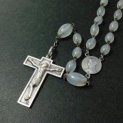 アンティーク ロザリオ クリアビーズ 聖母とキリスト センターメダイ