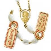 聖母マリアの透かしセンターメダイxマザーオブパールビーズ ロザリオ パーツ L  ヴィンテージデッドストック