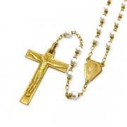 ヴィンテージ ロザリオ 聖母&イエス   ゴールド&フェイクパール  <デッドストック>
