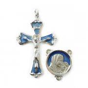 聖母子 ブルーエナメル   センターメダイとクロスのロザリオアクセサリーパーツセット