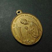 聖アロイシウス・ゴンザーガと守護天使 アンティーク メダイ