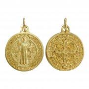 聖ベネディクト ゴールド メダイ ◆ 毒・腎臓病・胆石・誘惑の守護 イタリア製
