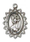 聖クリストファー 透かし 装飾 メダイ スターリングシルバー製 ペンダント クリストフォロス 【受注発注】