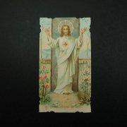アンティーク ホーリーカード  イエス・キリストと聖心