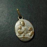 聖心を指すキリストとカルメル山の聖母 アンティーク メダイ   ペンダント