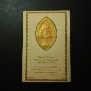 アンティーク ホーリーカード  天使と聖杯を持った幼子イエスと聖母マリア