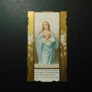 アンティーク ホーリーカード  聖母マリア 百合の花