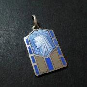 聖母 ブルーエナメル アンティークメダイ  シルバー