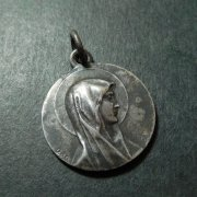 ルルドの聖母 アンティーク メダイ ラウンド