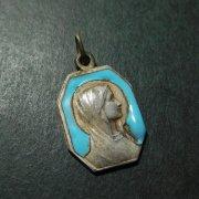 ルルドの聖母 アンティークメダイ 水色エナメル