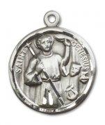 ローマの聖ジェネシウス メダイ ラウンド スターリングシルバー製 ペンダント 【受注発注】
