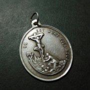 キリストの磔刑 七つの悲しみの聖母 アンティーク メダイ シルバー