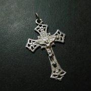 百合の紋章 透かし クロス アンティーク 十字架  シルバー