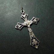透かし クロス アンティーク 十字架  シルバー