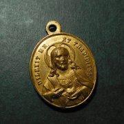 聖心を指すイエスキリストと聖母マリア アンティーク メダイ
