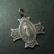 クロス型 ロザリオの聖母 イエス・キリスト アンティーク メダイ