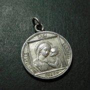 聖母子 聖母マリアと聖心のスカプラリオ アンティーク メダイ