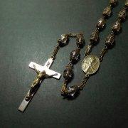 ヴィンテージ ロザリオ クリアビーズ 聖母とキリスト