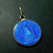 ロカマドゥールの聖母 ブルーエナメル シルバー アンティーク メダイ