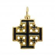 エルサレム クロス ブラックエナメル ゴールド 十字架 ペンダント