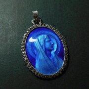ルルドの聖母 ブルーエナメル マーカサイト アンティーク シルバー メダイ