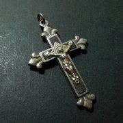 アンティーク  キリスト磔刑  十字架 クロス 百合の紋章