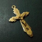 アンティーク  キリスト磔刑  十字架 クロス フラワー装飾 ゴールド