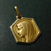 聖母マリア 八角形 アンティーク ゴールド メダイ