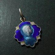 ルルドの聖母  ブルーエナメル アンティーク メダイ